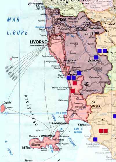 Karte Toskana Küste.Ferienhaus Toskana Pisa Livorno Ferienhäuser Ferienwohnungen